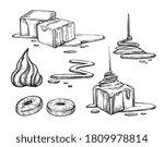 caramel sauce and candy set.... | Shutterstock .eps vector #1809978814