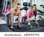 cute sporty girls doing... | Shutterstock . vector #180999791