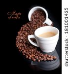 coffee background and white cup ... | Shutterstock . vector #181001435
