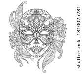 beautiful mask. zentangle...   Shutterstock .eps vector #1810025281