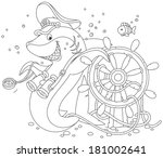 shark captain and steering wheel | Shutterstock .eps vector #181002641