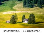 Small photo of Meadow valley farm house landscape. Farm house in farmland. Farm house landscape