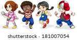kids on a white background | Shutterstock .eps vector #181007054
