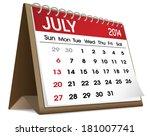Vetor Of July 2014 Calendar