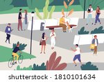 people spend time at public... | Shutterstock .eps vector #1810101634