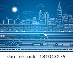 white lines train on the... | Shutterstock .eps vector #181013279
