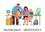 parents making homework with... | Shutterstock .eps vector #1810151011