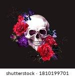 Skull With Dark Flowers ...
