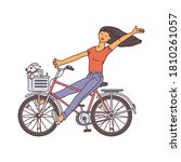 Cartoon Girl Riding A Bicycle...