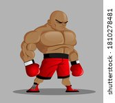 Bald Heavyweight Boxer In Red...