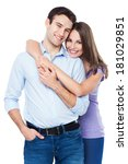 young couple hugging | Shutterstock . vector #181029851