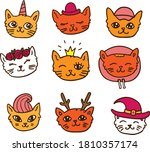 Vector Colorful Funny Cat Face...