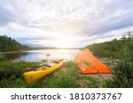 Kayak And Tent By The Lake Grey