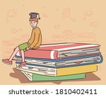 a boy is sitting on a huge pile ... | Shutterstock .eps vector #1810402411