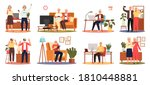 old people play video game. set ... | Shutterstock .eps vector #1810448881