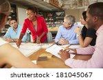 female boss leading meeting of... | Shutterstock . vector #181045067