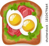 sandwich with eggs and tomatoes ...   Shutterstock .eps vector #1810479664