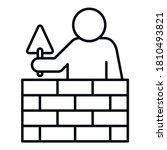 tiler brick wall icon. outline...   Shutterstock .eps vector #1810493821