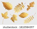 Golden Flying Autumn Leaves Of...