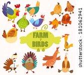 Cute Farm Birds.turkey  Chicke...