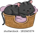 Stock vector illustration of a cute cat lying contentedly on its bed 181065374