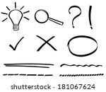 set of hand drawn simple icons. | Shutterstock .eps vector #181067624