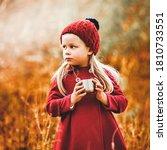Portrait Of Cute Little Girl...