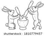 moon rabbits pounding the rice... | Shutterstock .eps vector #1810779457