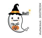 happy halloween cartoon. little ... | Shutterstock .eps vector #1810782334