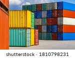 Stacked Colorful Containers In...