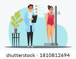 nutritionist measure patient... | Shutterstock .eps vector #1810812694