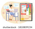 young girl studying at home in... | Shutterstock .eps vector #1810839154