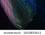Small photo of Neon web, gradient of blue, cyan and purple. The web is woven by a spider. Dark abstract background. Selective focus or defocus. Color flicker and aberration