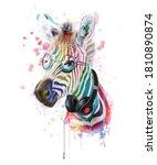illustration of cute zebra with ... | Shutterstock .eps vector #1810890874