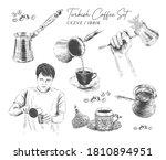 traditional turkish coffee pot  ... | Shutterstock .eps vector #1810894951