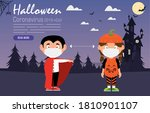 kids costumes with medical mask ... | Shutterstock .eps vector #1810901107