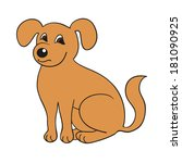red cute smiling dog on white... | Shutterstock .eps vector #181090925