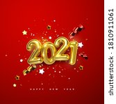 realistic 2021 golden numbers... | Shutterstock .eps vector #1810911061