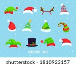 collection of  hristmas hats on ... | Shutterstock .eps vector #1810923157