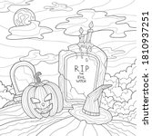 a creepy pumpkin  graves with...   Shutterstock .eps vector #1810937251