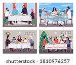 traditional family dinners flat ... | Shutterstock .eps vector #1810976257