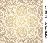 Vintage seamless background with lacy ornament. Ornament in east style. Light golden pattern. It can be used for wallpaper, pattern fills, web page background, surface textures, classic fabric.