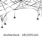 spider and torn web. scary... | Shutterstock .eps vector #1811051161