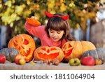 Girl Carving Halloween...