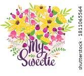 my sweetie flat vector postcard ... | Shutterstock .eps vector #1811065564