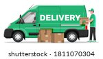 loader unloads the goods from... | Shutterstock .eps vector #1811070304
