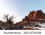 Red Rock Cliff With The Sun...