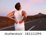 back pain. athletic running man ... | Shutterstock . vector #181111394