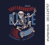 funny skater skeleton character.... | Shutterstock .eps vector #1811124757