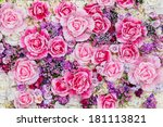 Stock photo close up colorful imitation or artificial rose flower background 181113821